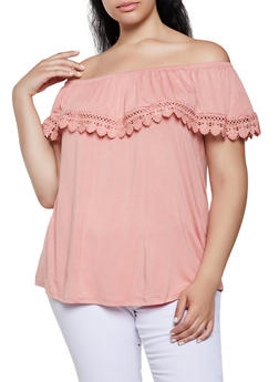 Plus Size Crochet Trim Ruffle Off the Shoulder Top - 0912054261486