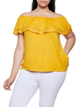 Plus Size Crochet Trim Ruffle Off the Shoulder Top - 0912054261486