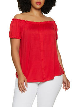 Plus Size Off the Shoulder Button Detail Top - 0912054261500