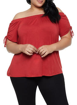 Plus Size Off the Shoulder Drawstring Sleeve Top - 0912054261528