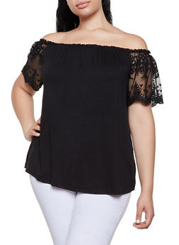Plus Size Mesh Sleeve Off the Shoulder Top - 0912054261531