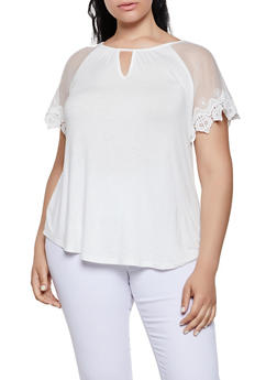 Plus Size Crochet Sleeve Top - 0912054261535