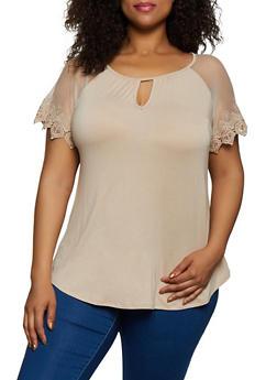Plus Size Crochet Sleeve Top - 0912054261535
