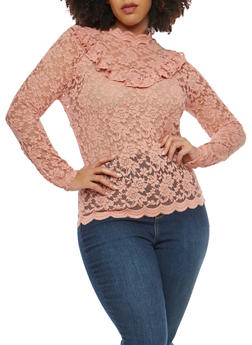 Plus Size Long Sleeve Lace Ruffle Top - 0912054265871