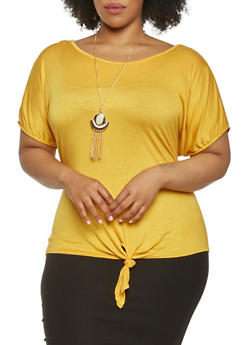 Plus Size Slit Sleeve Top with Necklace - 0912058750331