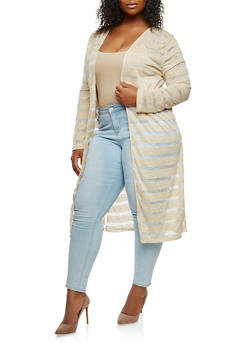Plus Size Striped Duster - 0912058750787