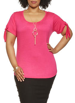 Plus Size Tie Sleeve Tee with Necklace - 0912058751001