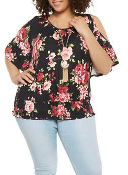 Plus Size Floral Cold Shoulder Top with Necklace - 0912058751003