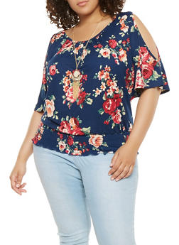 Plus Size Floral Cold Shoulder Top with Necklace - 0912058751003