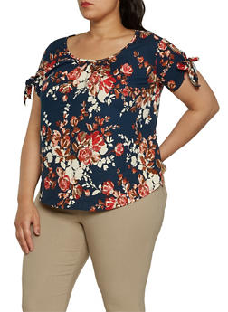 Plus Size Floral Tie Sleeve Top - 0912058751004