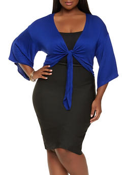 Plus Size Tie Front Bell Sleeve Top - 0912058751007