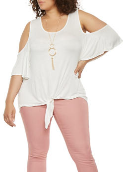 Plus Size Cold Shoulder Top with Necklace - 0912058751010