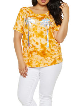 Plus Size Tie Dye Iridescent Palm Tree Tee - 0912058752045