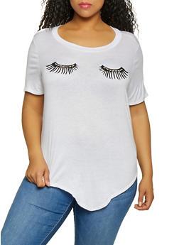 Plus Size Rhinestone Eyelash Graphic Tee - 0912058752421