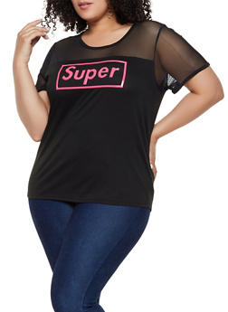 Plus Size 3D Super Graphic Mesh Yoke Tee - 0912058753696