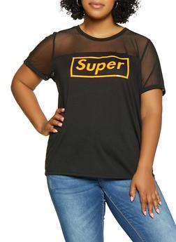 Plus Size 3D Super Graphic Mesh Yoke Tee - 0912058753696