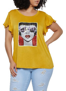 Plus Size Bejeweled Graphic Top - 0912058753721