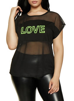 Plus Size Love Graphic Mesh Top - 0912058753726
