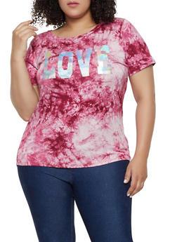 Plus Size Tie Dye Foil Love Tee - 0912058753731