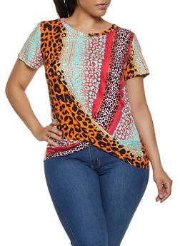 Plus Size Multi Color Animal Print Tee - 0912058754283