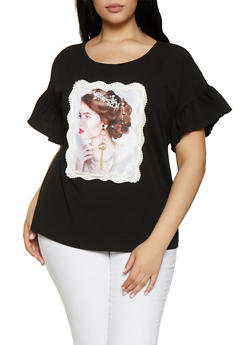 Plus Size Rhinestone Studded Face Patch Top - 0912058756960