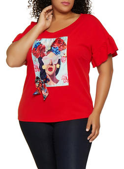 Plus Size Flower Face Patch Top - 0912058756970