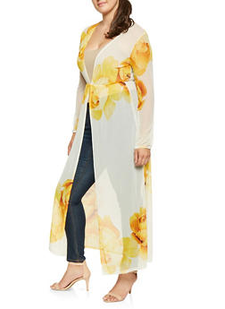 Plus Size Printed Mesh Duster - 0912062121343