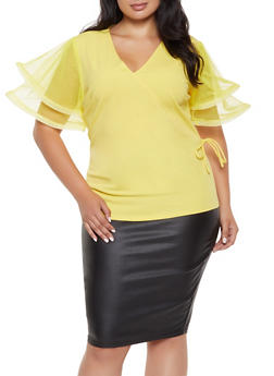 Plus Size Wired Mesh Sleeve Top - 0912062121375