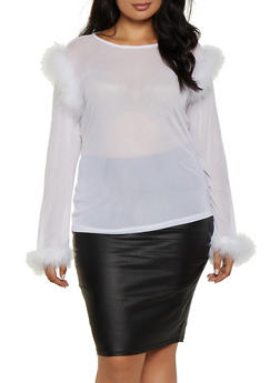 Plus Size Feather Trim Mesh Top - 0912062121400