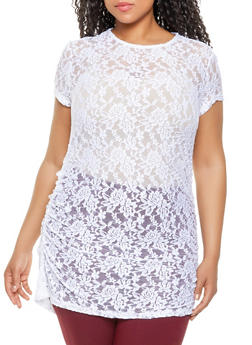 893a14186b4 Plus Size Lace Tunic Top - White - Size 2X - 0912062121499