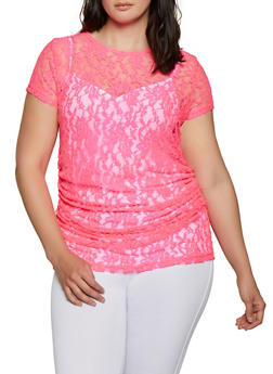Plus Size Lace Tunic Top - 0912062121499