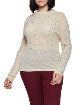 Plus Size Mesh Rhinestone Studded Top - 0912062121605