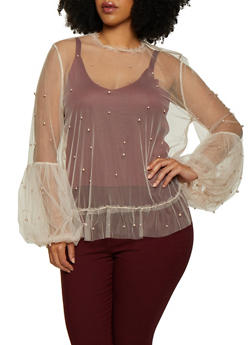 Studded Mesh Bubble Sleeve Top - 0912062121890