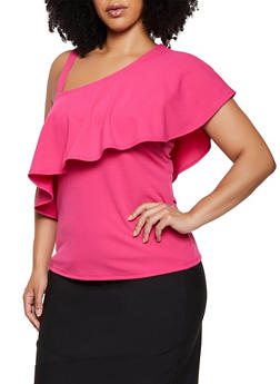 Plus Size Crepe Knit One Shoulder Top - 0912062122500