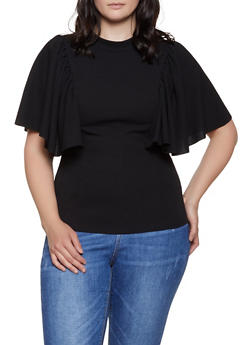 Plus Size Crepe Knit Flutter Sleeve Top | 0912062122612 - 0912062122612