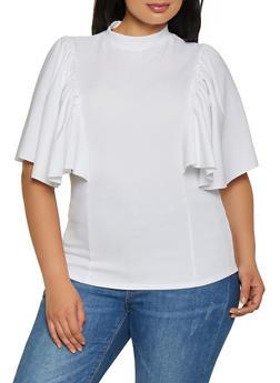 Plus Size Crepe Knit Flutter Sleeve Top   0912062122612 - 0912062122612