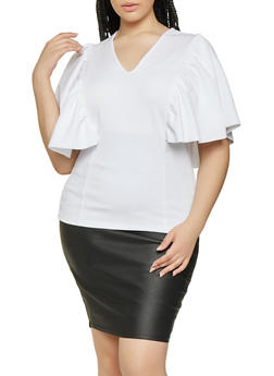 Plus Size Ruffled Flutter Sleeve Top - 0912062122620