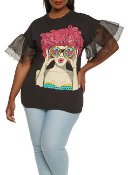 Plus Size Tiered Sleeve Graphic Tee - 0912062124018