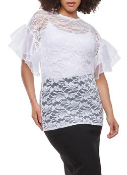 Plus Size Tiered Organza Sleeve Top - 0912062124050