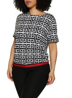 Plus Size Geometric Print Top - 0912062124330