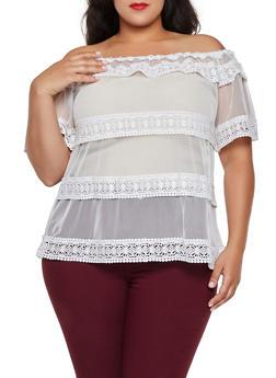 Plus Size Off the Shoulder Crochet Trim Mesh Top - 0912062125187