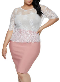 Plus Size Floral Lace Mesh Top - 0912062126650
