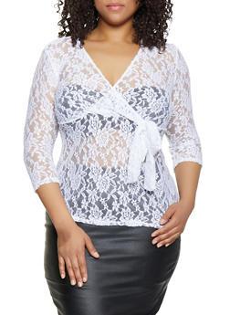 Womens Plus Size White Wrap