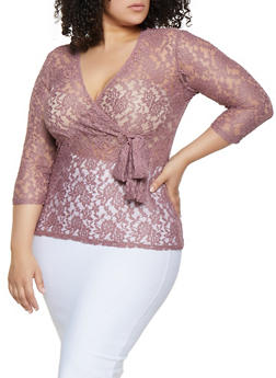 Plus Size Lace Faux Wrap Top - 0912062127283