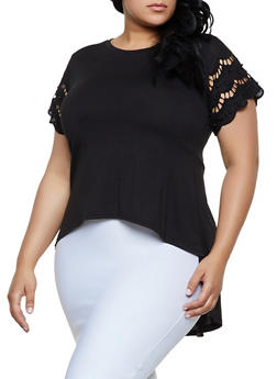 Plus Size Studded Crochet Sleeve High Low Top - 0912062128100