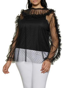 Plus Size Ruffled Swiss Dot Mesh Top - 0912062129816