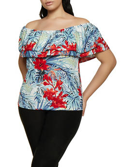 Plus Size Tropical Floral Off the Shoulder Top - 0912062129991