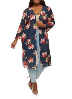 Plus Size Floral Mesh Kimono - 0912062701232