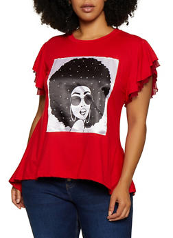 Plus Size Girl Face Patch High Low Tee - 0912062701289