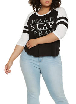 Plus Size Graphic Baseball Tee - 0912062701653